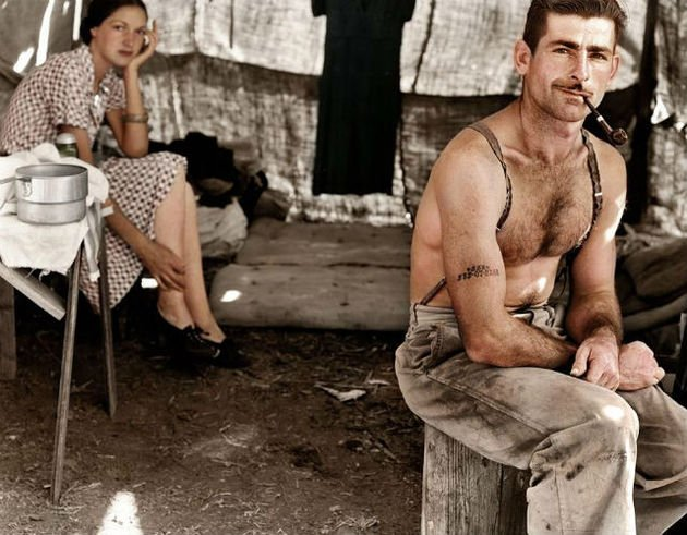 This photo from 1939 was colorized by zuzahin on reddit and shows an unemployed lumber worker