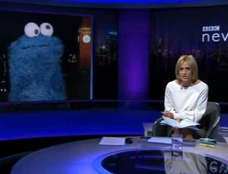 Sesame Street's Cookie Monster gives interview...to BBC Newsnight
