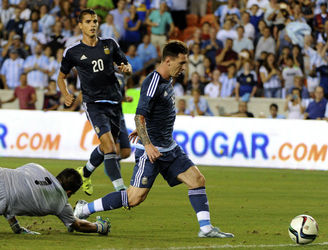 Messi scored within 60 seconds of coming off the bench as Argentina romped home 7-0