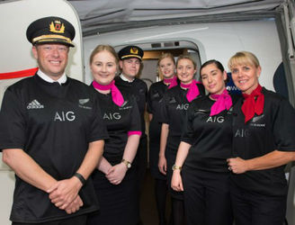 Qantas flight crew wear New Zealand jerseys after losing Airline Wager