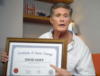 David Hasselhoff drops the hassel from his name