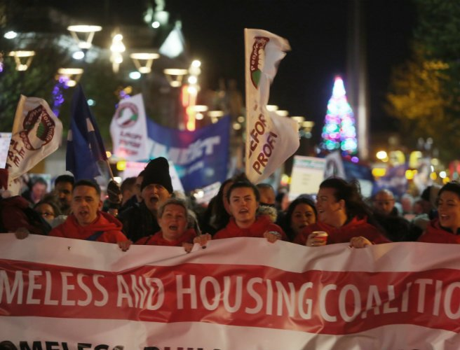 Hundreds protest government inaction on homelessness