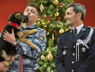 It's puppy love, as Russia hands over new police dog to French officials