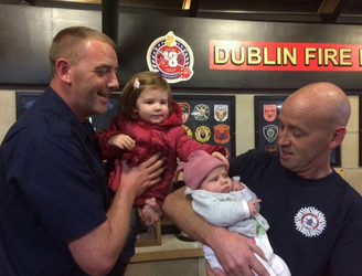 Baby girl delivered on the M50 by Dublin Fire Brigade pays them a visit