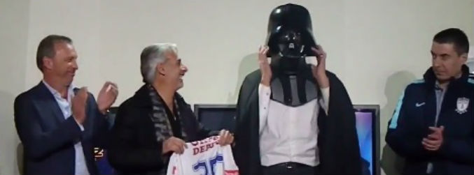 Mexican club dress their new signing as Darth Vader for press conference