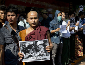 Hundreds protest in Myanmar after men found guilty of killing British backpackers in Thailand