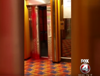 A cruise ship turned into a scene from 'The Shining' when an elevator began to seep blood