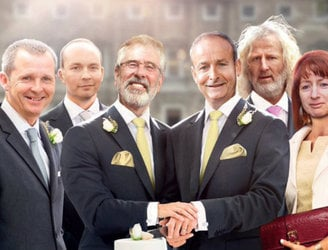Labour criticised after leaked draft ad shows Gerry Adams and Micheál Martin as married couple
