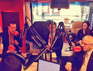 """Stop shouting at each other please!"" - Alan Kelly, Mattie McGrath and Michael Smith do battle on the battle bus"