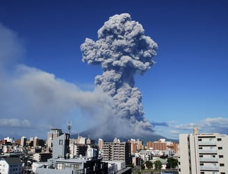 WATCH: Japanese volcano erupts close to nuclear plant