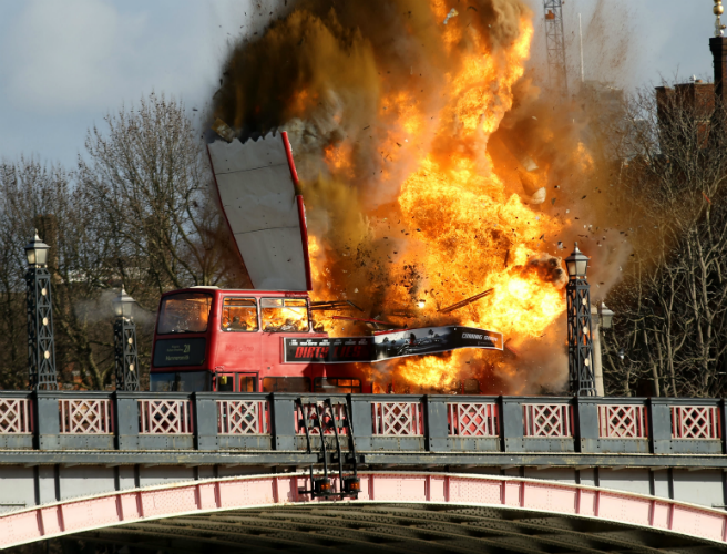 WATCH: Bus explodes in London during action movie filming