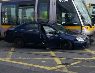 Delays after collision between car and Luas tram in Dublin