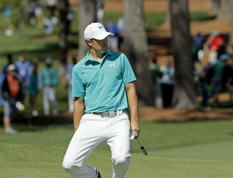 Jordan Spieth reacts to his high-water mark for Masters Day 1