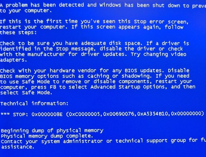 The blue screen of death becomes helpful