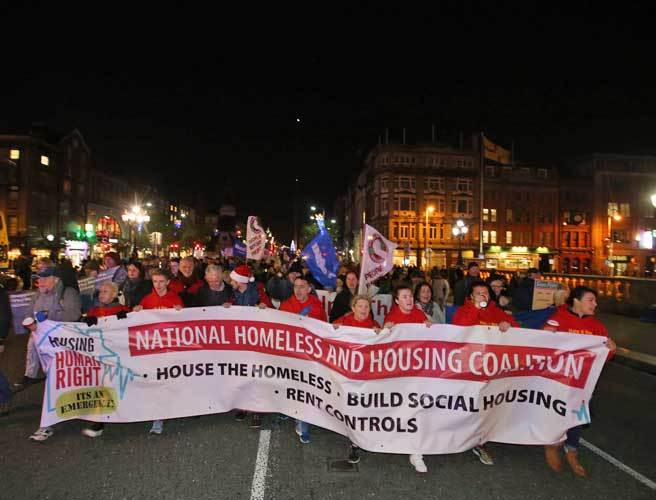 Protest, housing, homeless, national emergency, SIPTU, IMPCT, Custom House, Karan O'Loughlin