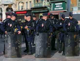 French riot police charge at England fans in Lille
