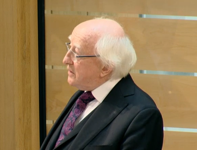 president, higgins, scottish, parliament, edinburgh