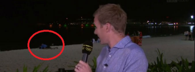 "WATCH: BBC presenter awkwardly tells viewers that Copacabana couple are only ""reading a book"""