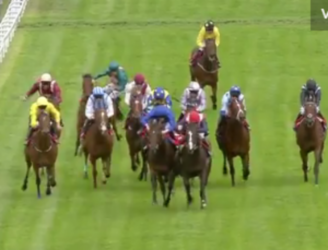 WATCH: Freak horse-racing incident sees jockey unseated by a flying golf ball