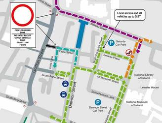 Closures and diversions for parts of Dublin city due to Luas Cross City works
