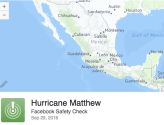 "Facebook enables ""Safety Check"" feature for those in the path of Hurricane Matthew"
