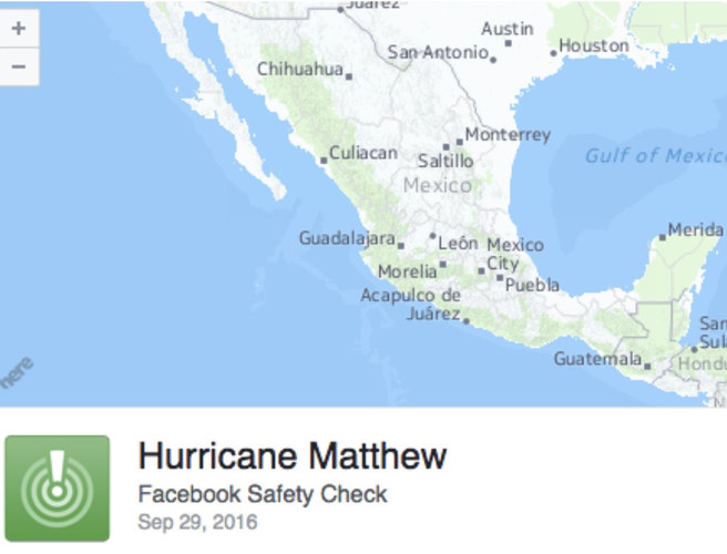 Facebook Activates Safety Check for Hurricane Matthew