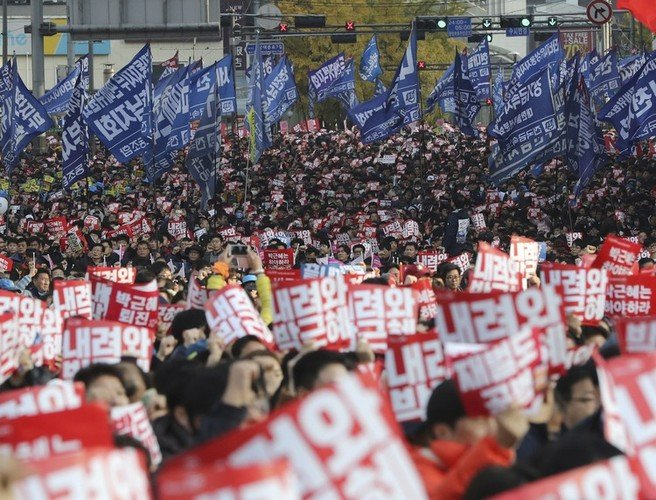 South Korean President targeted in protests