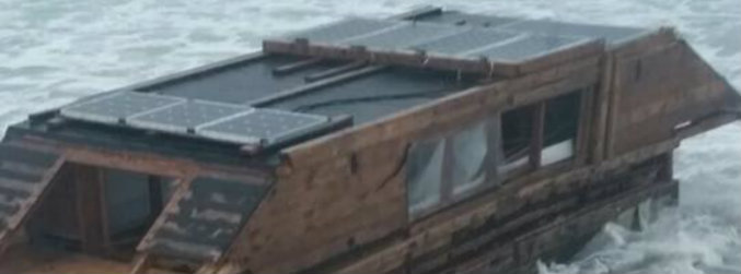Battered houseboat washes up in Co Mayo after apparently drifting across Atlantic