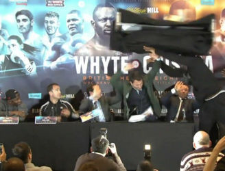 WATCH: Dereck Chisora hurls table at Dillian Whyte during pre-fight press conference