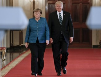 Trump slams media coverage of Merkel meeting