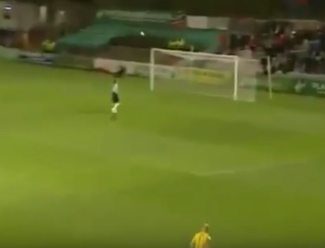 WATCH: St Pats' player scores from behind halfway line