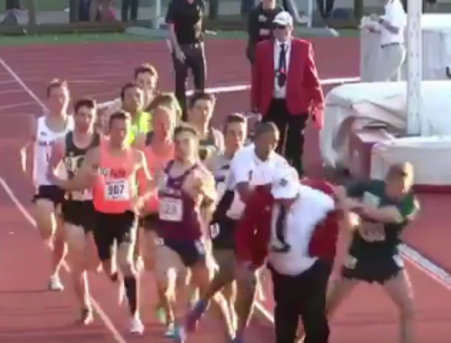 WATCH: Official collides with runners in a 1500m race