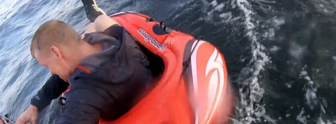 WATCH: Man rescued from toy dinghy after floating out to sea