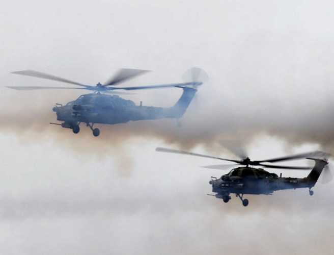 Russian helicopter 'accidentally fires rocket near onlookers'