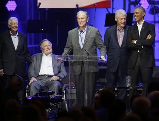 All five living former US presidents make joint appearance for hurricane relief event