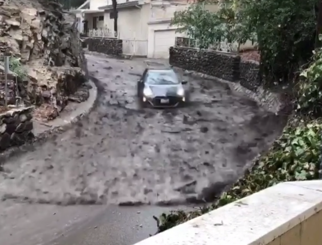 Terrifying footage released of car caught up in California mudslides