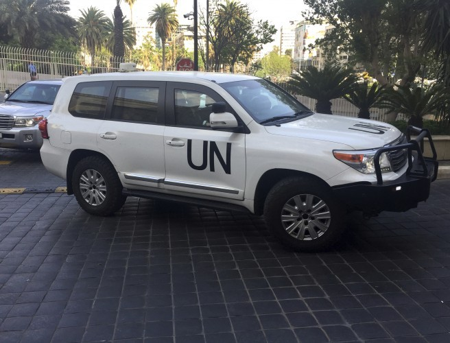 OPCW team takes samples from Douma site