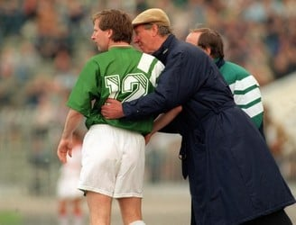 Manager Jack Charlton sends on Ronnie Whelan. Image: ©INPHO/Billy Stickland