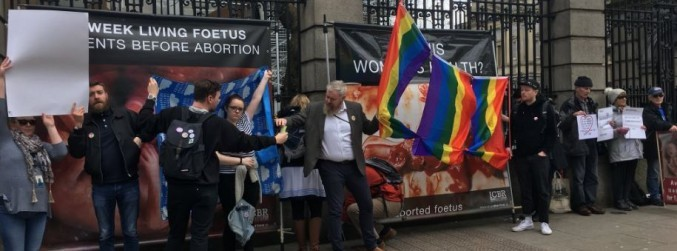 Eighth Amendment protesters face-off outside the Dáil