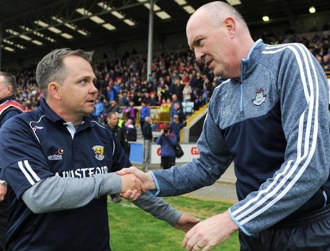 Wexford manager Davy Fitzgerald and Dublin manager Pat Gilroy. Image: ©INPHO/Tommy Greally
