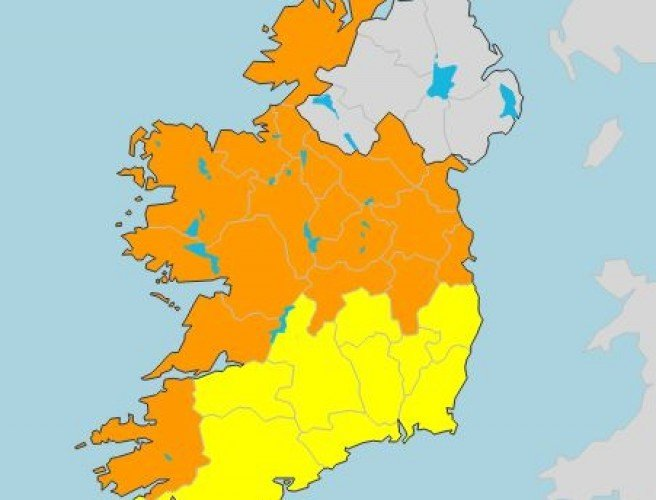 Status orange wind warning issued for 17 counties ahead of Storm Ali