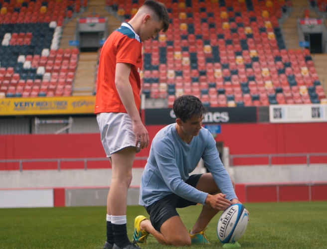 WATCH: Joey Carbery treats five lucky winners to a Thomond Park kicking clinic