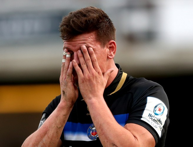 Bath's Freddie Burns reacts late in the game after failing to ground the ball for a late try