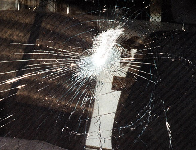 Police officers lucky to escape injury in Northern Ireland after windscreen smashed with a brick
