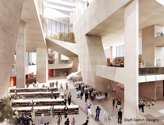 Sketch designs for Dublin's new city library suggest an ambitious blending of old and new