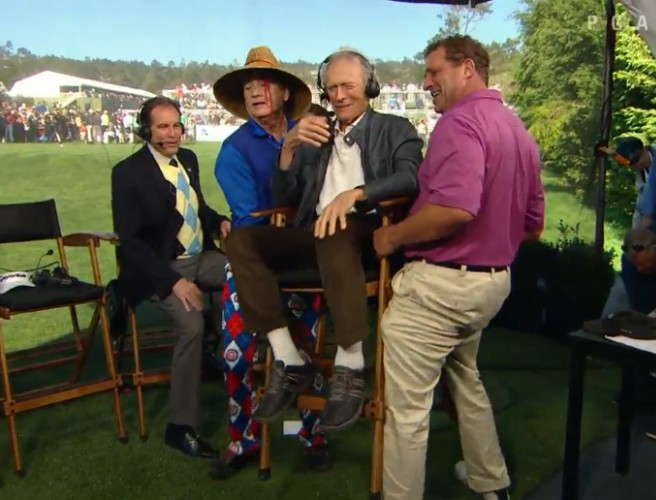 WATCH: Bill Murray and Harris Barton cart Clint Eastwood off stage at 2016 AT&T Pebble Beach Pro-Am
