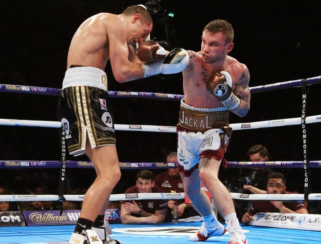 Scott Quigg fought with a broken jaw last night